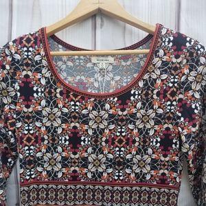 NWT Max Studio Black Brown Print Dress Size S